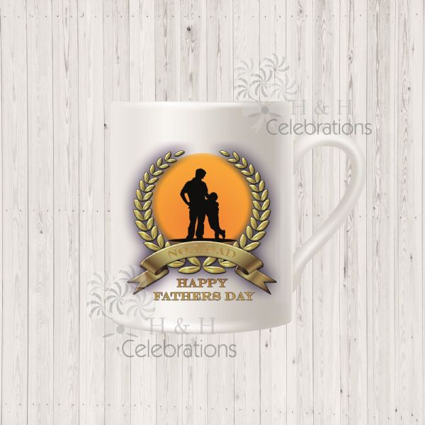 No 1 Dad And Son Laurel Silhouette Personalised Mug